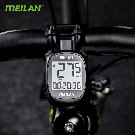 Meilan ciclo impermeable ordenador Posicionamiento bici del odometro con pantalla LCD, Negro