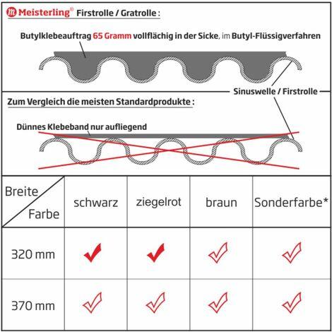 Meisterling Rouleau d'arêtier / Closoir de faîtage 320 mm x 5 m, PET anti-UV haute performance, non-tissé - bande centrale en tissu, rouge brique (012100000410)