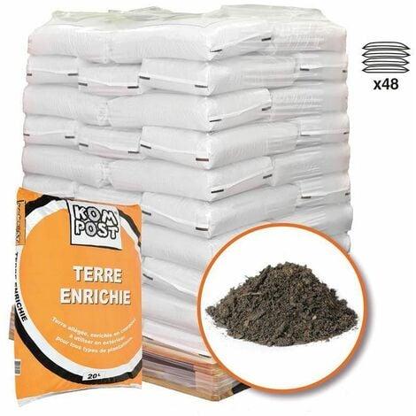 Mélange de terre végétale enrichie RACINE pour bacs et jardinières 48 sacs 20 litres - Brun