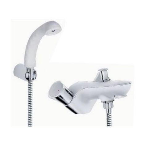 Mélangeur bain-douche chrome/blanc sur plage monotrou avec douchette blanche (Relexa) et flexible 1500mm COSTA L GROHE 25496001B