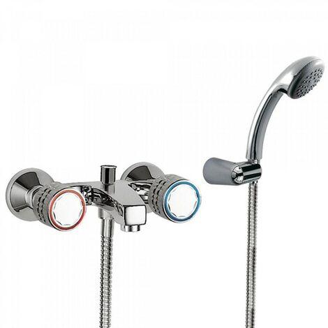 Mélangeur bain‑douche Douchette à main anticalcaire avec support orientable. Flexible double agrafage - TRES 123170