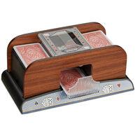 Mélangeur de cartes automatique 2 jeux de cartes à piles poker rami fonctionne à piles en optique bois, nature