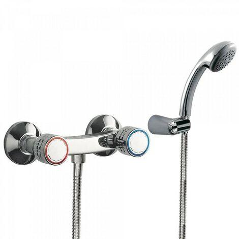 Mélangeur douche Douchette à main anticalcaire avec support orientable. Flexible double agrafage - TRES 123167