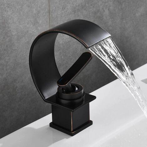 Mélangeur évier design mitigeur cascade noir effet cuivre simple poignée