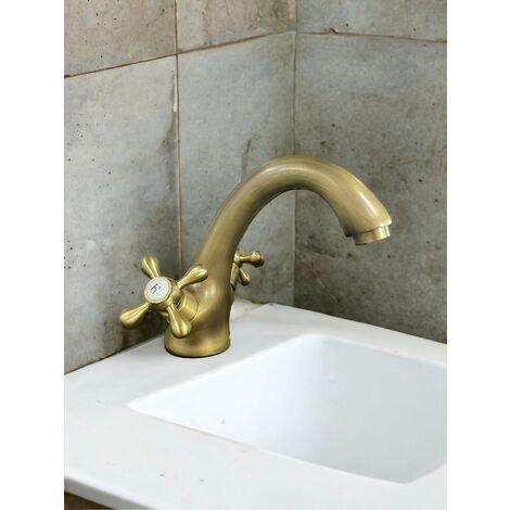 Mélangeur évier lavabo vieux laiton bronze