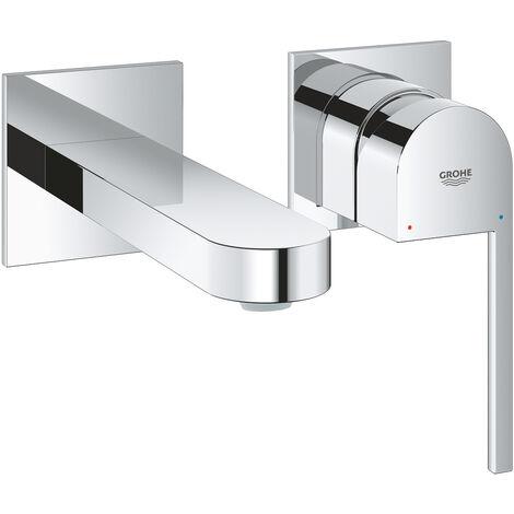 Mélangeur lavabo 2 trous GROHE Plus, sans vidage, saillie de 147 mm, Coloris: acier super - 29303DC3