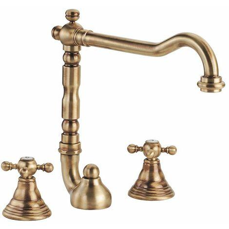 Mélangeur lavabo 3 trous, bec pivotant Porta & Bini old fashion 6054.cer