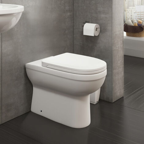 Melbourne Back To Wall Vitreous Ceramic Modern White Toilet Pan, Soft Close Seat