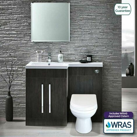 """main image of """"Melbourne LH Bathroom Grey Basin Sink Vanity Unit Back To Wall WC Toilet"""""""