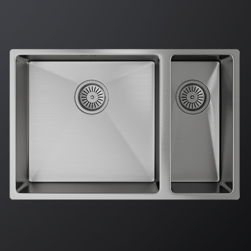 Image of MELIA 1.5 Double Bowl and Half Stainless Steel Kitchen Sink & Waste 670 x 440mm