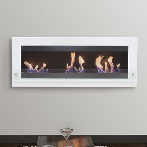 Melibea, cheminée bio éthanol grande taille 140 Cm, noire et blanche, triple brûleurs style très moderne !
