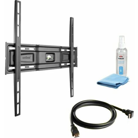 MELICONI PACK VESA 400 FIXE Support TV mural fixe pour TV de 40 a 80 + Câble HDMI + Cleaning