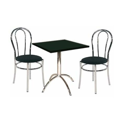 Melincko Small Table Square Black Top Chrome Stylish Kitchen Dining Table And Chair Set