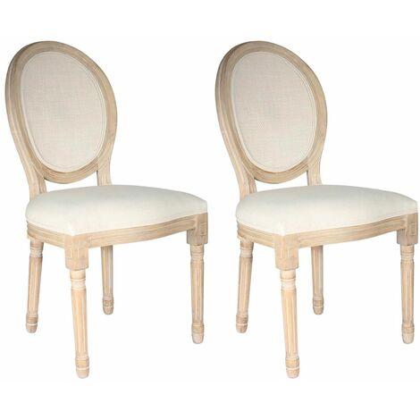Melinda - Lot de 2 Chaises Baroques avec Dossier Canné - Naturel