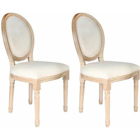 Melinda - Lot de 2 Chaises Baroques Tissu Beige - Beige