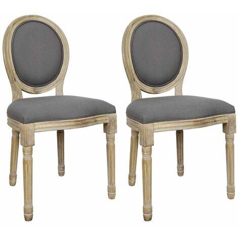 Melinda - Lot de 2 Chaises Baroques Tissu Gris - Gris