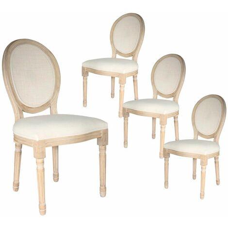 Melinda - Lot de 4 Chaises Baroques avec Dossier Canné - Naturel