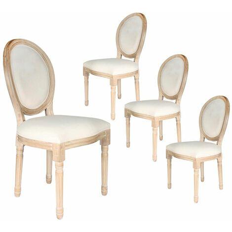 Melinda - Lot de 4 Chaises Baroques Tissu Beige - Beige