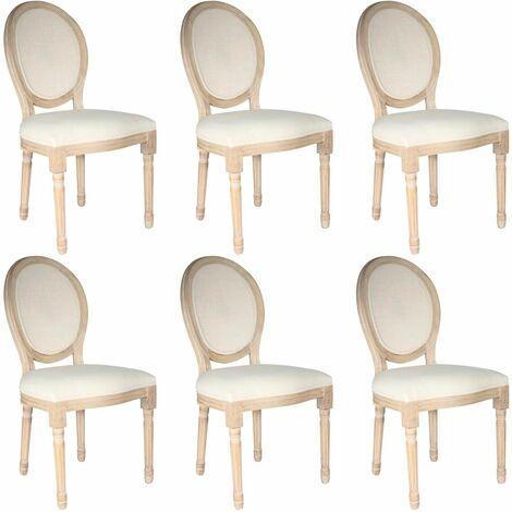 Melinda - Lot de 6 Chaises Baroques avec Dossier Canné - Naturel