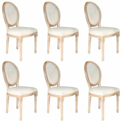 Melinda - Lot de 6 Chaises Baroques Tissu Beige - Beige