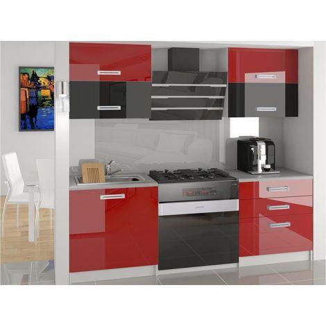 MELIOR | Cuisine Complète Modulaire Linéaire L 120 cm 4 pcs | Plan de travail INCLUS | Ensemble armoires cuisine - Rouge-Noir