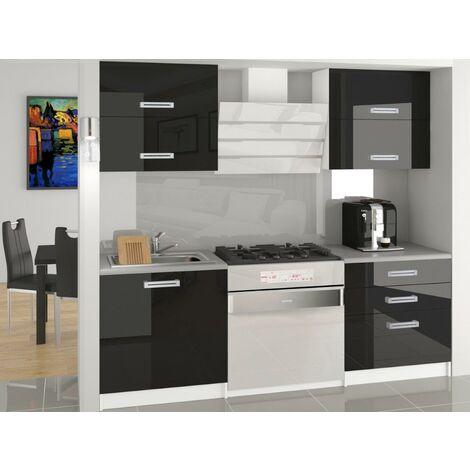 MELIOR | Cuisine Complète Modulaire Linéaire L 120cm 4 pcs | Plan de travail INCLUS | Ensemble armoires cuisine brillant - Noir