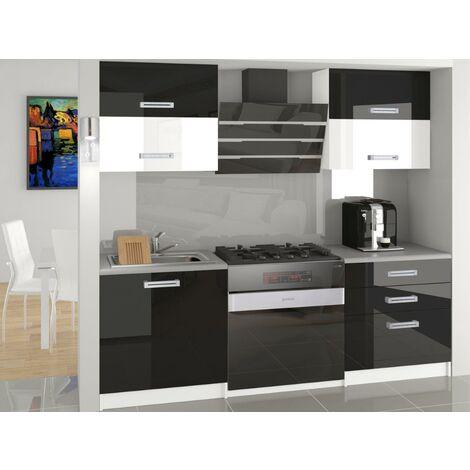MELIOR | Cuisine Complète Modulaire Linéaire L 120cm 4 pcs | Plan de travail INCLUS | Ensemble armoires cuisine gloss - Noir-Blanc