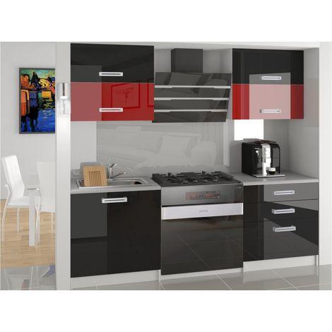 MELIOR | Cuisine Complète Modulaire Linéaire L 120cm 4 pcs | Plan de travail INCLUS | Ensemble armoires cuisine laqué - Noir-Rouge