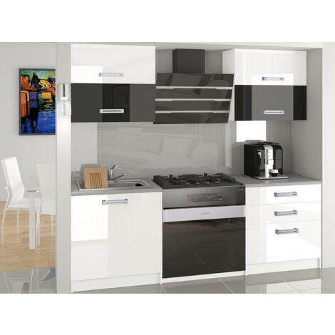 MELIOR - Cuisine Complète Modulaire Linéaire L 120cm 4 pcs - Plan de travail INCLUS - Ensemble armoires finition brillante - Blanc-Noir