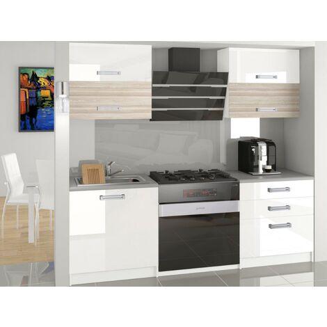 MELIOR - Cuisine Complète Modulaire Linéaire L 120cm 4 pcs - Plan de travail INCLUS - Ensemble meubles cuisine laqué gloss - Blanc