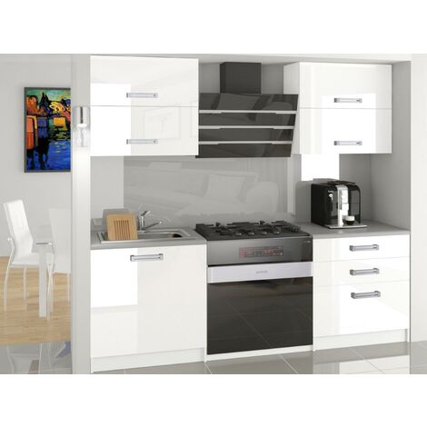 MELIOR - Cuisine Complète Modulaire Linéaire L 120cm 4 pcs - Plan de travail INCLUS - Ensemble meubles cuisine moderne laquée - Blanc