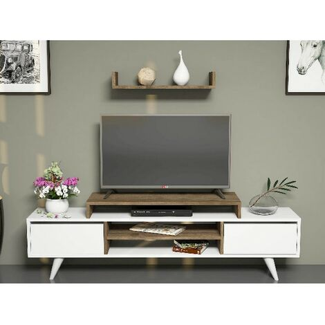 Melis TV Stand - with Doors, Shelves - for Living Room - White, Walnut, made in Wood, 160 x 29,7 x 38,6 cm