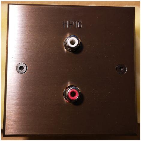 """Meljac conector RCA completa grabado """"HP16"""" - 8x8cm - Bronce"""