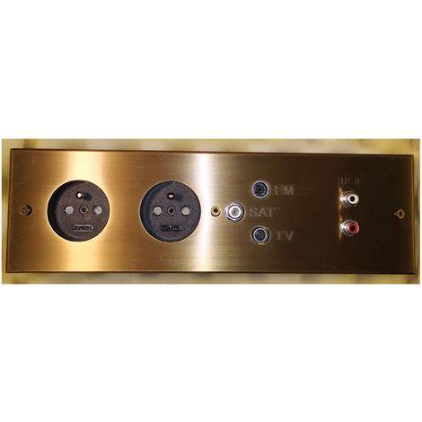 Meljac kompletter Strip - 2 x 2P + + TV / SAT / FM + CAR - 26.7x8cm - Bronze