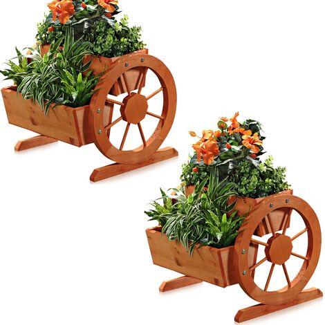 Melko 2x flower pot + wheels and 2 planting boxes Planter balcony Planting trough garden