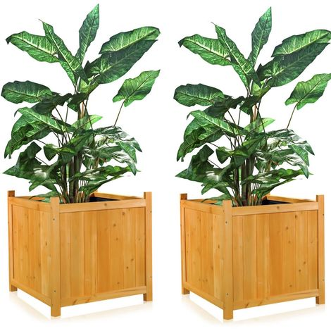 Melko 2xGarden Flowerpot wooden planter box flower trough flower pot cachepot square