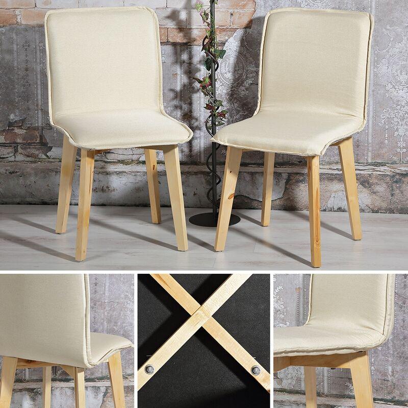 4er Set sedia da pranzo Set da pranzo Cream poltrona da soggiorno ad alta schiena poltrona da cucina sedia da cucina - Melko