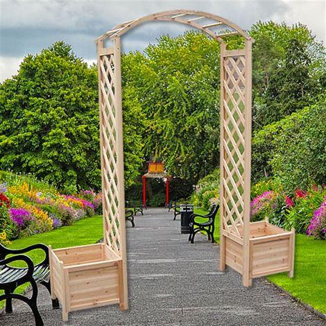 Melko Arche de rosier en bois Aide à l'escalade pour les plantes grimpantes Arche de jardin Pergola avec 2 jardinières