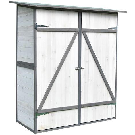 """main image of """"Melko Armoire de jardin avec toit monopente et porte à double battant abri de jardin en bois blanc/gris 162 x 140 x 75 cm, avec étagère"""""""