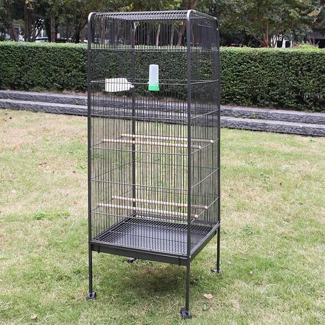 Melko Aviary large Aviary 146CM Animal Cage with Rolls Aviary with Perches and Feeding Bowls
