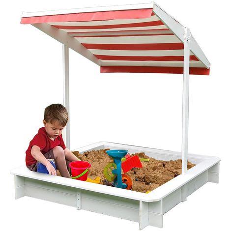 Melko Bac à sable avec protection solaire Bac à sable 120x120x120 cm Bac à sable pour enfants