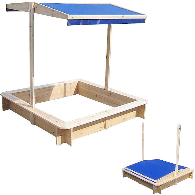Melko Bac à sable avec toit réglable 120 x 120 x 120 cm Bac à sable (bleu)