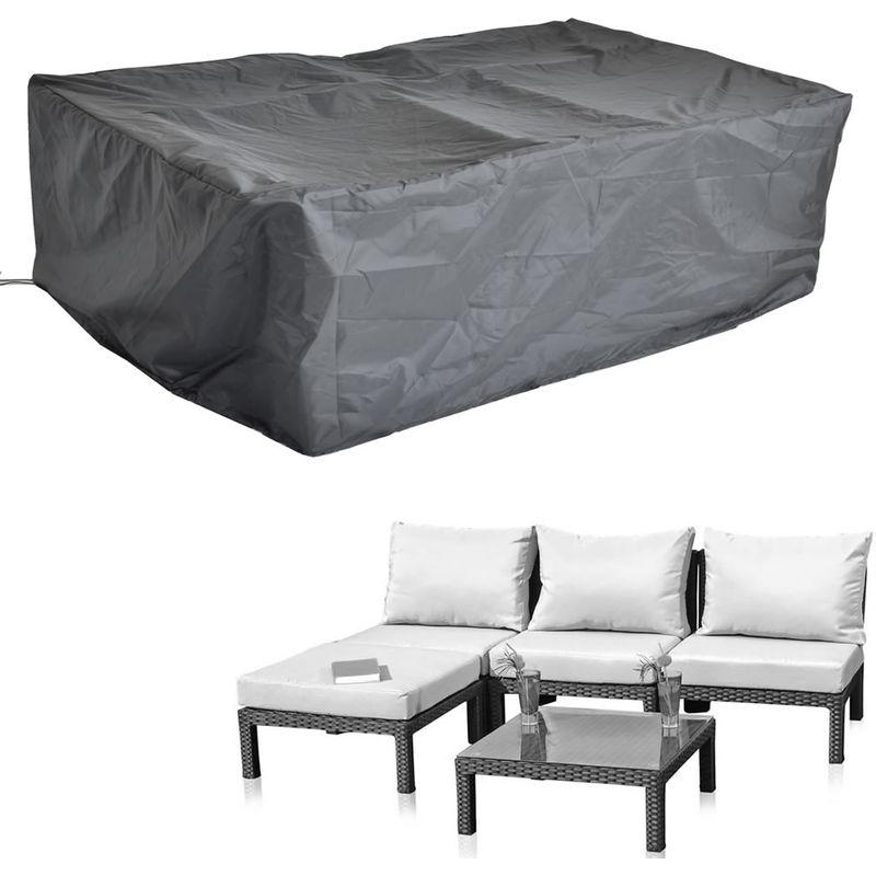 Melko Bâche pour meubles de jardin 197 x 122 x 62 cm couverture rotin bâche pour groupe à manger meubles en rotin protection contre les intempéries
