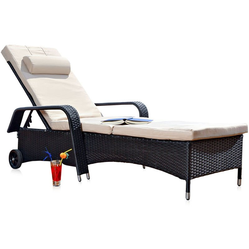Melko Bain de soleil à roulettes Bain de soleil en rotin Bain de soleil à roulettes résistant aux intempéries Dossier de chaise longue de balcon