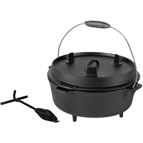 Melko BBQ Dutch Oven with lid and lid lifter made of cast iron, pot for grilling, roasting, cooking, baking or for stews, 9 liters