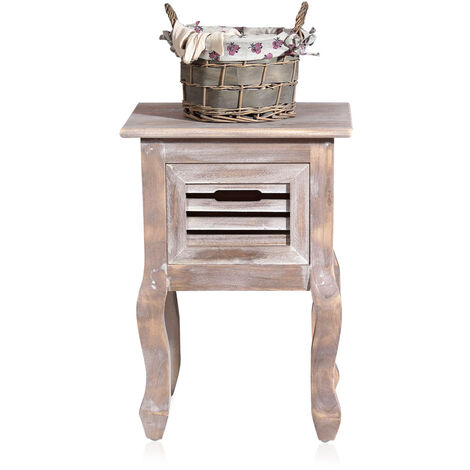Melko bedside table with curved legs in Shabby Chic in brown 34,4 x 49,2 x 30 cm