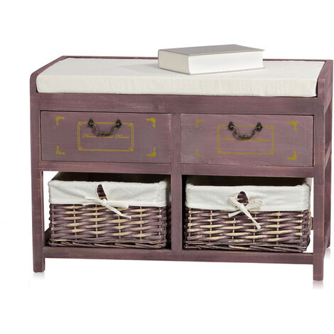 Melko bench commode with baskets and drawers wooden bench country-wood