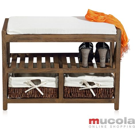 Melko bench shoe rack with 2 baskets in brown 64,7x45,6x34 cm, Shabby