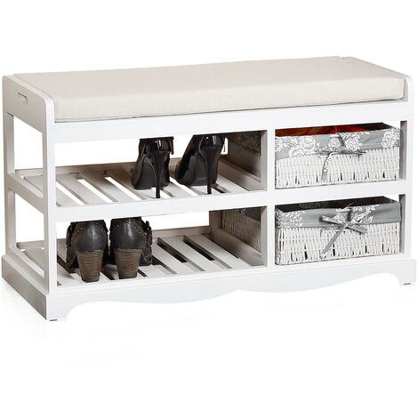 Melko bench-shoe rack with 2 baskets incl. seat cushion in white