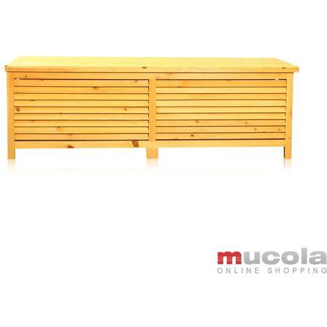 Melko Boîte à coussins Boîte de jardin avec couvercle rabattable, étanche à la pluie, en bois, 46 x 140 x 52 cm, coffre de jardin en bois